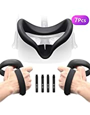 Accessories Bundle for Oculus Quest, Kit with Silicone Mask Pad Cover, Controller Knuckle Grip Strap and Cable Clip Organizer for Oculus Quest …