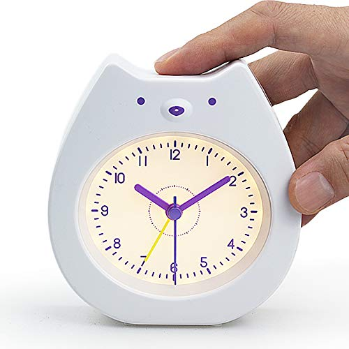 Soundance Cute Bear Alarm Clock, Analog Travel Battery Operated Quiet Silent No Ticking Beep Sounds, Rechargeable Night Light, Gift for Kids Teens Girls Boys Children Bedroom, Easy Use Set, BC1 -