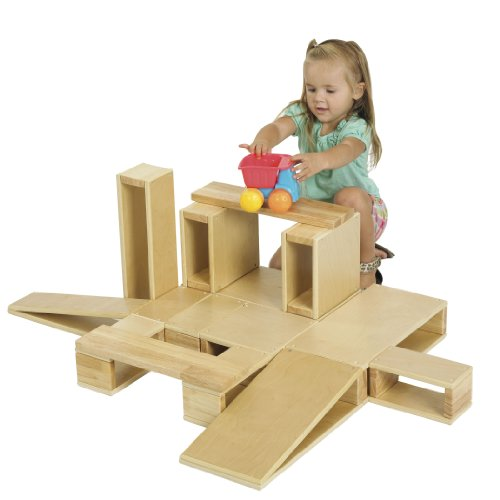 ECR4Kids Over-Sized Hollow Wooden Block Set for Kids Play, Natural (18-Piece Set)