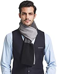 Taylormia Mens 30% Merino Wool Scarf Thick for Winter Super Warm Soft