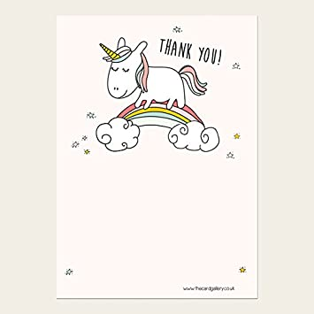 Children S Thank You Cards Rainbow Unicorn Pack Of 10 Amazon Co