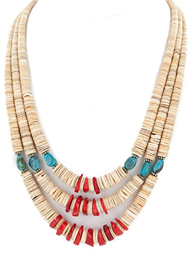 Native-Bay $440Tag 3 Strand Certified Silver Navajo Turquoise Coral Graduated Necklace 15846-0 Made by Loma Siiva
