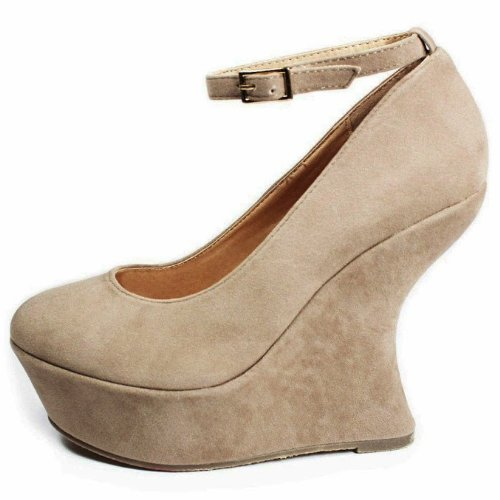 JJF Shoes RS Taupe Faux Suede Ankle Strap Special Gaga Curve High Heel Platform Wedge Pump-6 9i9ojpTBu