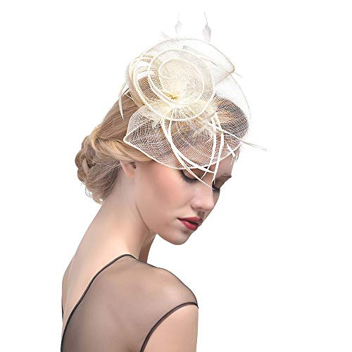 Lefthigh Headband Fascinator Cocktail Hat Feather Semicircular Mesh Ribbons Feathers Small Hat Headdress