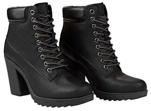 Donne Jojo Nero Militare Due Toni Lace Up Platform Chunky Stivaletti Tacco Alto Alla Caviglia