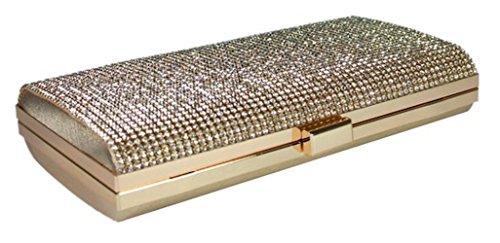 Wedding Crystal Clutch Bag Ladies Diamante Evening Prom Glitter Gold Stylla IqgOwS