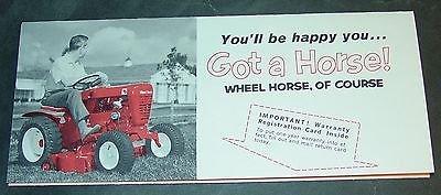 (VINTAGE 1960'S WHEEL HORSE LAWN & GARDEN TRACTOR WARRANTY CARD MINT (735))