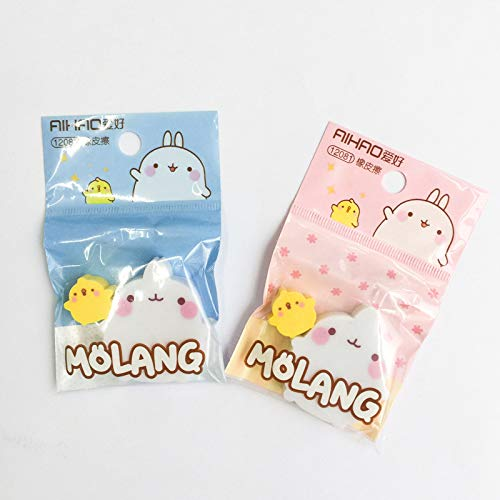 (Cacys-Store - 2 pcs/pack Molang Rabbit Duck Eraser Rubber Eraser Primary Prizes Promotional Gift)