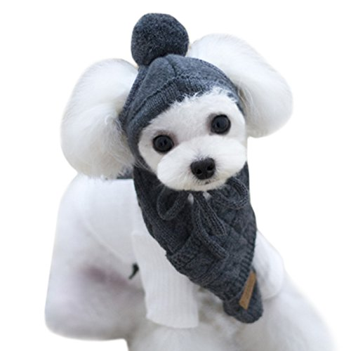 Alfie Pet - Bryn Winter Scarf and Hat Set for Dogs and Cats - Color: Grey, Size: Small