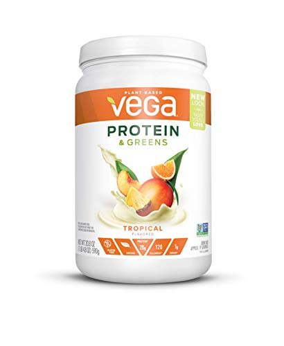 Vega Protein & Greens Tropical (19 Servings, 1.3 lb) - Plant Based Protein Powder, Gluten Free, Non Dairy, Vegan, Non Soy, Non GMO - (Packaging may vary)
