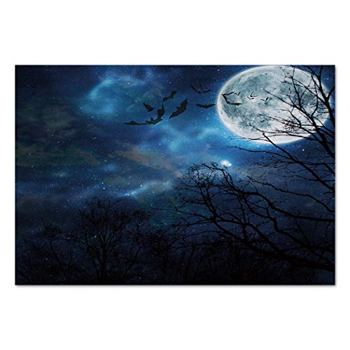 Large Wall Mural Sticker [ Halloween,Bats Flying in Majestic Night Sky Moon Nebula Mystery Leafless Trees Forest Decorative,Blue Black White ] Self-adhesive Vinyl Wallpaper / Removable Modern Decorati for $<!--$41.99-->