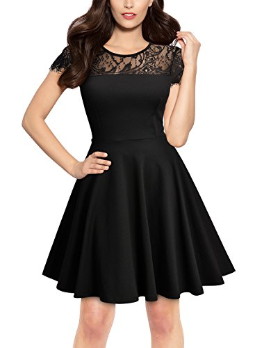 Miusol Women's Retro Lace Cap Sleeve Slim Party Mini Dress,Black,Medium