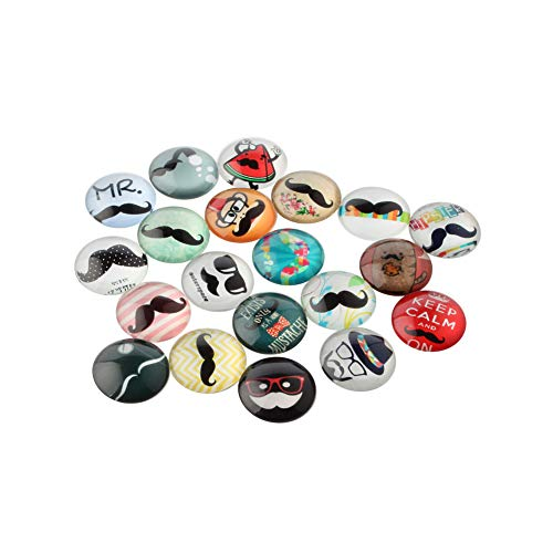 ARRICRAFT 200pcs Moustache Printed Glass Cabochons 12mm Flat Back Domed Cabochon Beads for Necklace Embellishment DIY Jewelry -