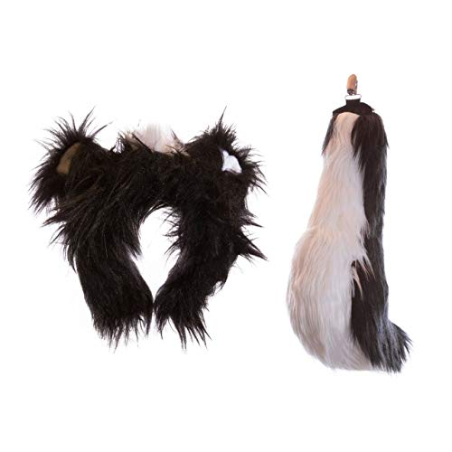 Wildlife Tree Plush Skunk Ears Headband and Tail Set for Skunk Costume, Cosplay, Pretend Animal Play or Forest Animal Costumes -