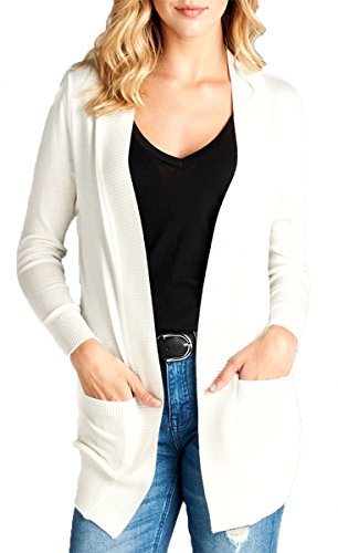 Olive K Women's Plus Size Long Sleeve Rib Band Open Sweater Cardigan with Side Pockets