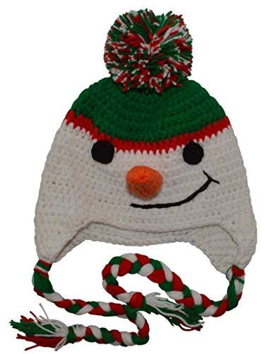 BePe Baby Infant, Toddler, Little Kids Crochet Character Beanie Brim Tassel Photo Prop Hat - Snowman - White/Green -Large (3-7 Years)