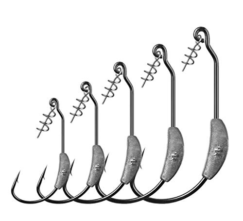 LikeFish Fishing Weighted Hooks with Twistlock Weighted Superline Spring Hook 5pcs/Pack 2g 2.5g 3g 4g (0.07oz-5pcs)