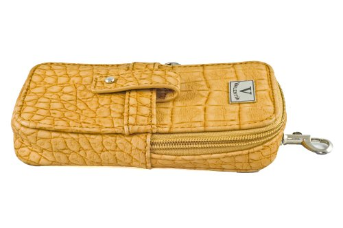 Valentia Cigars Case (holds 3 Cigars/Cutter), Synthetic Cognac Exotic Croc Leather