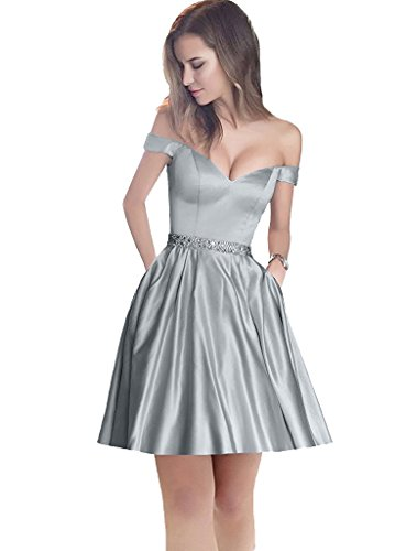 Beading Gray Short Prom The Shoulder Dress with Off Dress Satin Homecoming Sweetheart Waistband Jazylynbride wWPYOnqIW