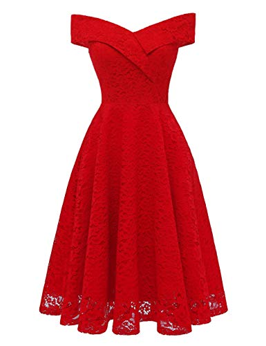 Short Shoulder Bridal Homecoming Cocktail Women's Red Off Prom Bess Dress Lace PXaqaw