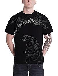 T Shirt Black Album Faded Snake Band Logo Official Mens Black