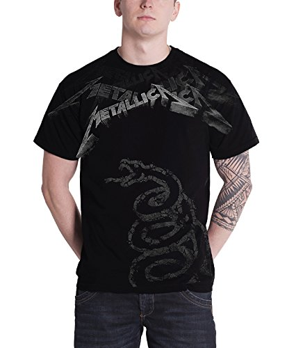 Metallica T Shirt Black Album Faded Snake Band Logo Official Mens Black