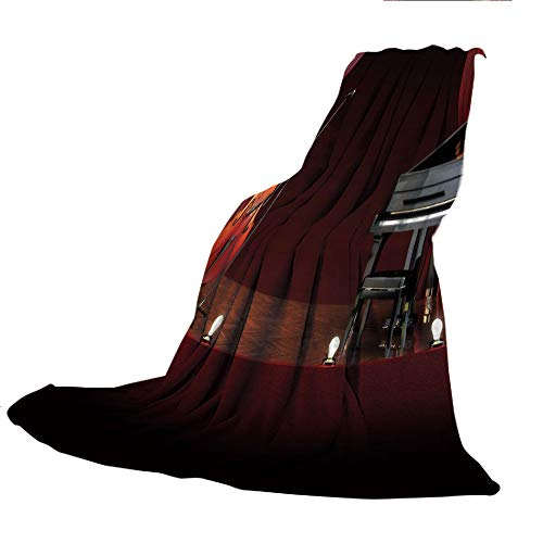SCOCICI Comfortable Printing Blanket and Washing Machine Washable,Musical Theatre Home Decor,Orchestra Symphony Theme Stage Curtains Piano Cello,Burdy Brown Black,59.06
