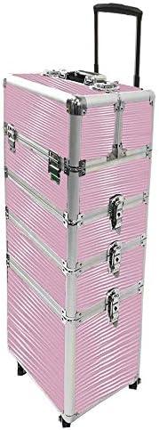 AUFUN 4-Schicht Trolley Schminkkoffer Kosmetikkoffer Groß Beauty Case Multikoffer mit räder für Gepäck, Nagelstudio - Pink