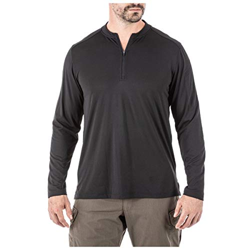 5.11 Tactical Men's Catalyst Zip Shirt-1/4 Sleeves, 100% Polyester Knit Fabric-Regular Fit, Black, L, Style 82118 from 5.11