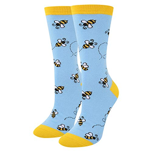 Busy Bees Cute Cotton Crew Socks in Blue