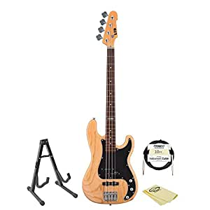 ESP JB-VINTAGE-214-KIT-1 Electric Bass Kit with Cable, Stand and GoDpsMusic Polish Cloth