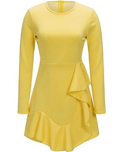 Magro Creativa Vestito Orlo Bodycon Mini Delle Donne Giallo Comodi Solido Irregolare 4qIwA5xnwH