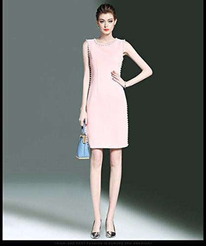 Cotylédons Women`s Robes Sans Manches Occasionnels Haute Robe Fendue Taille Rose