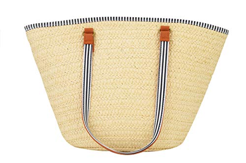 (AGNETA Women's Simple and Fashionable Tassel Tote One-Shoulder Straw Woven Shoulder Bag (Beige with Tassel))