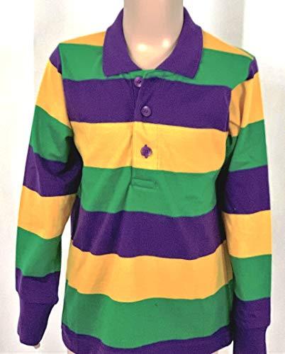 KAPLIN Child Mardi Gras Rugby PGG Shirt - Long Sleeve # 105-Small ()