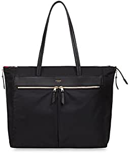 """Knomo Mayfair Grosvenor Place, 15"""" Lightweight Water-Resistant Expandable Laptop Tote Bag, with Device Protection, RFID Pocket and KNOMO ID, Black"""