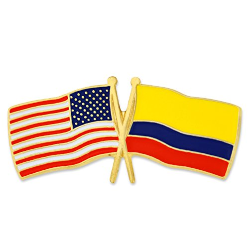PinMart USA and Colombia Crossed Friendship Flag Enamel Lapel Pin