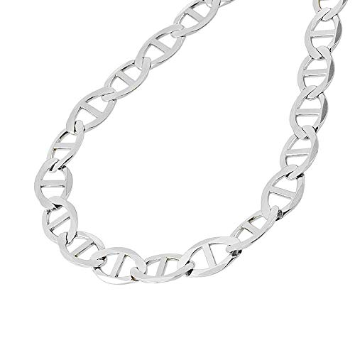 - Verona Jewelers 925 Sterling Silver 3.5MM, 4.5MM, 5.5MM, 6.5MM, 8MM Solid Flat Mariner Link Chain Necklace- Sterling Silver Necklace Chain 18