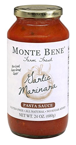 Monte Bene Garlic Marinara, 24-Ounce Glass Jars (Pack of 6)