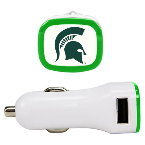 NCAA Michigan State Spartans Car Charger, White