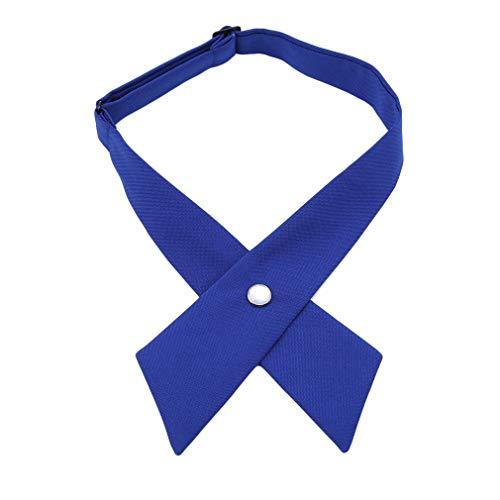 YESMAEA Cross Bow Tie Adjustable Cross Tie School Uniform Pre Tied Bows for Women Girls,Royal Blue