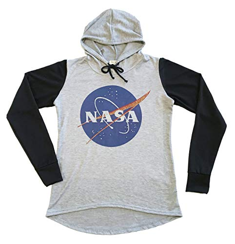 Sweet Gisele NASA Meatball Logo Worm Hooded Sweatshirt Sweater Pullover Womens Two Tone Raglan Hoodie w/Bling (Small) ()