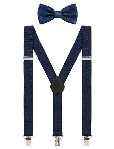 (Mens Suspenders and Bow Tie Set Adjustable Elastic Clip On Suspenders for Wedding by Grade Code (Navy Blue) )