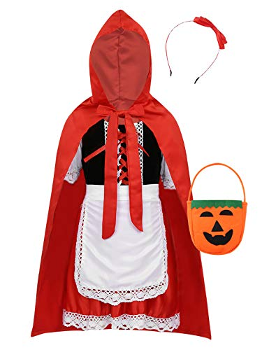 FEESHOW Kids Girls Little-Red Riding Hood Halloween Costumes Cosplay Outfit with Cloak Headband Candy Bag Red 3-4 ()
