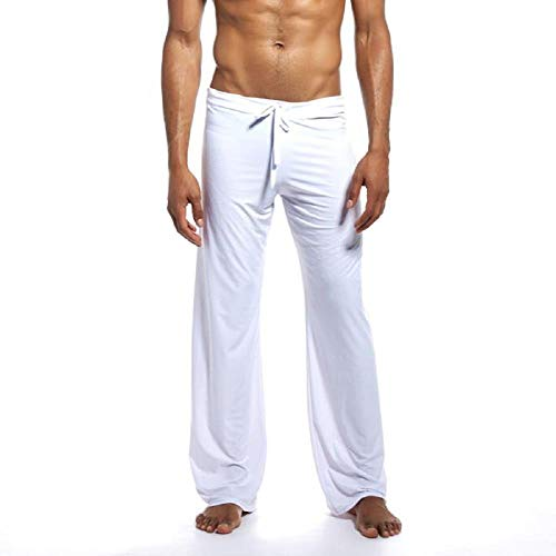 (Wobuoke Fashion Men's New Pure Home Pants Yoga Pants Tie-up Comfortable Trousers White)