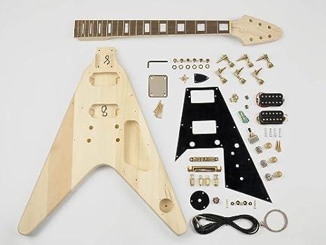 Flying-V estilo guitarra Kit de montaje – Cuerpo de Tilo – 22 ...