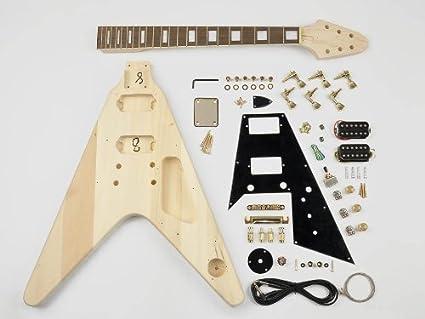 Flying-V estilo guitarra Kit de montaje – Cuerpo de Tilo – 22 trastes –