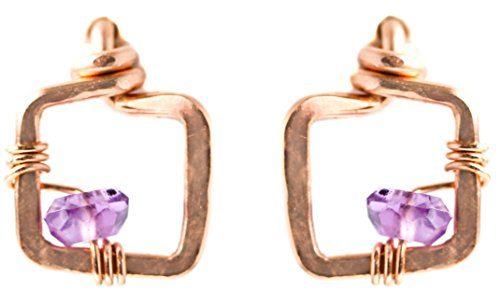 Tiny Rose Gold Amethyst Square Stud Earring - 14k Fill Purple Gemstone Jewelry Gift - Graduation,Prom