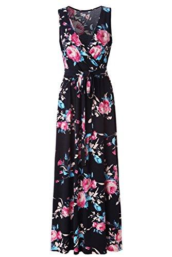 k Sleeveless Empire Waist Floral Maxi Dress … (X-Large, Navy Rose Printed) ()