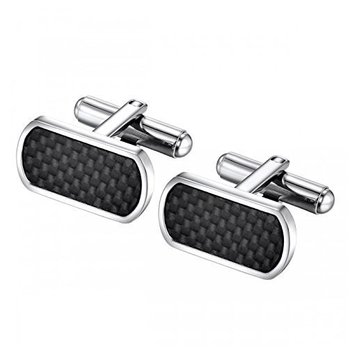 (Carbon Fiber Detailed Stainless Steel Cufflinks)
